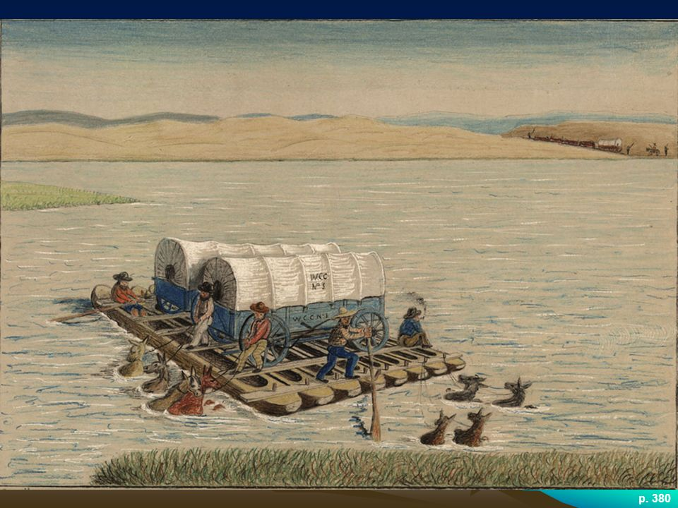 CROSSING THE RIVER PLATTE In the absence of bridges, pioneers had to bet on shallow river bottoms to cross rivers.