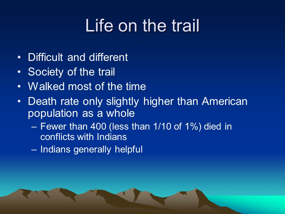 Life on the trail Difficult and different Society of the trail