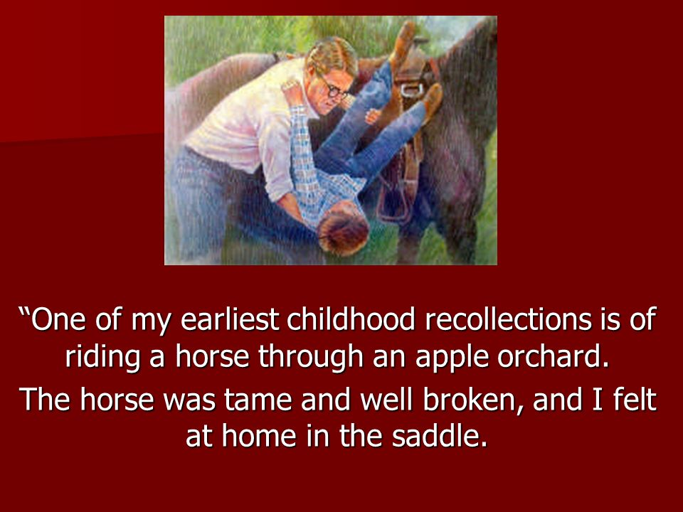 The horse was tame and well broken, and I felt at home in the saddle.