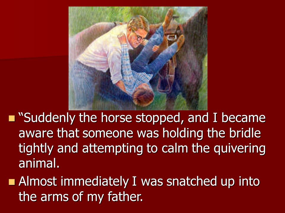 Suddenly the horse stopped, and I became aware that someone was holding the bridle tightly and attempting to calm the quivering animal.