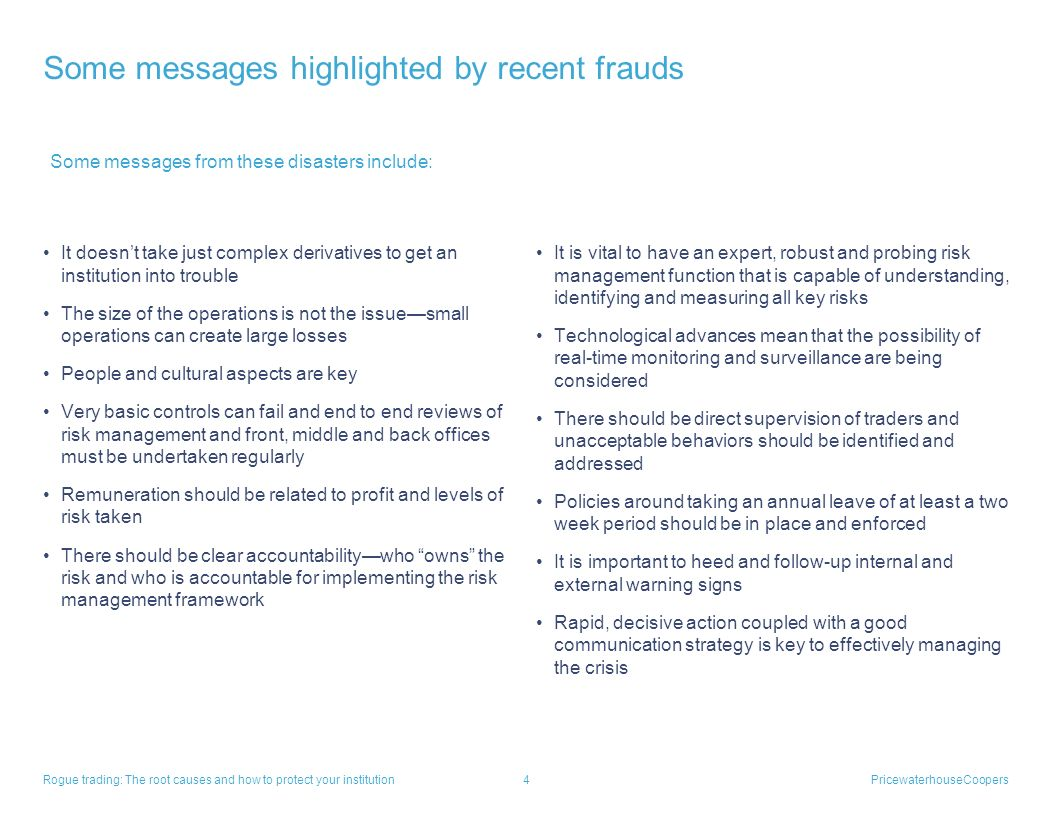 Some messages highlighted by recent frauds