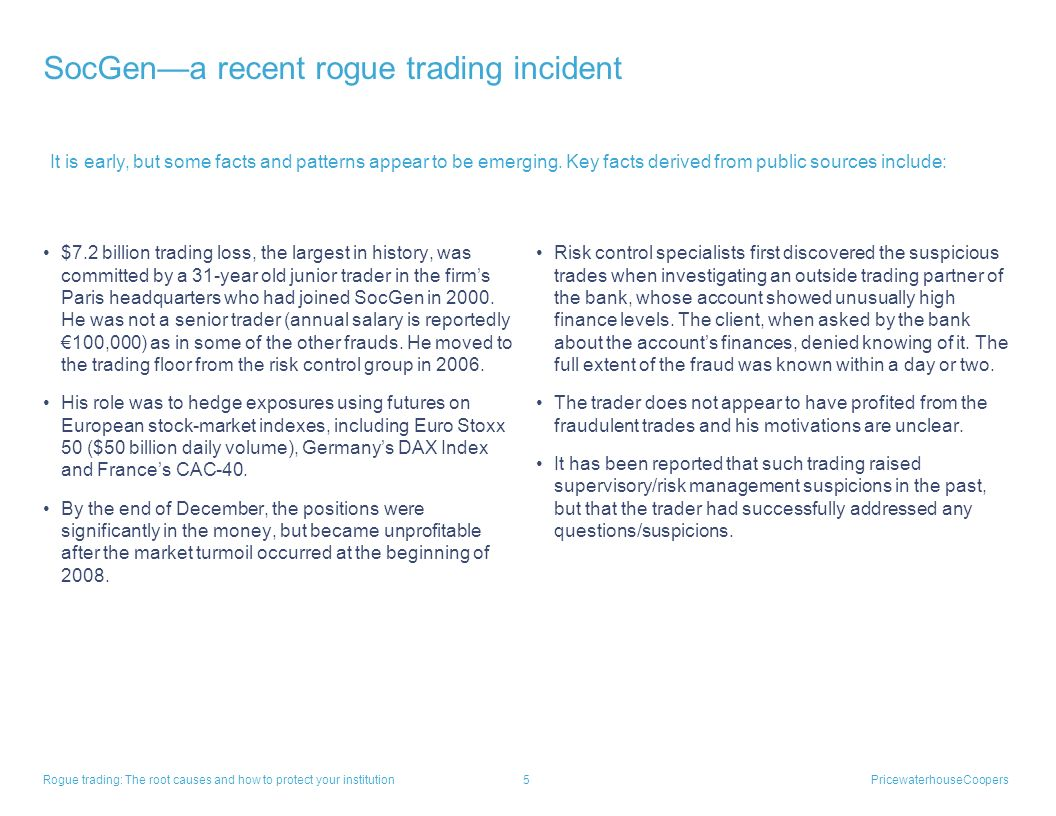 SocGen—a recent rogue trading incident