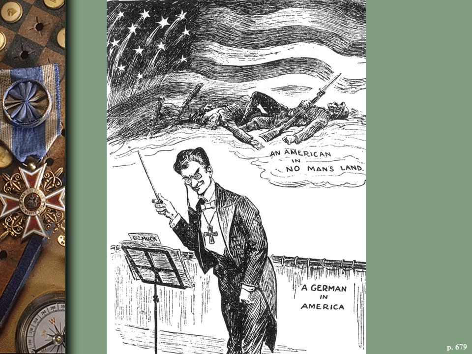 A GERMAN IN AMERICA; AN AMERICAN IN NO MAN'S LAND This March 1918 cartoon in the New York Herald attacked Karl Muck, the German conductor of the Boston Symphony Orchestra, when the orchestra performed in New York. Muck was arrested soon after and imprisoned for the rest of the war. Propaganda like this helped whip up anti-German hysteria on the home front.