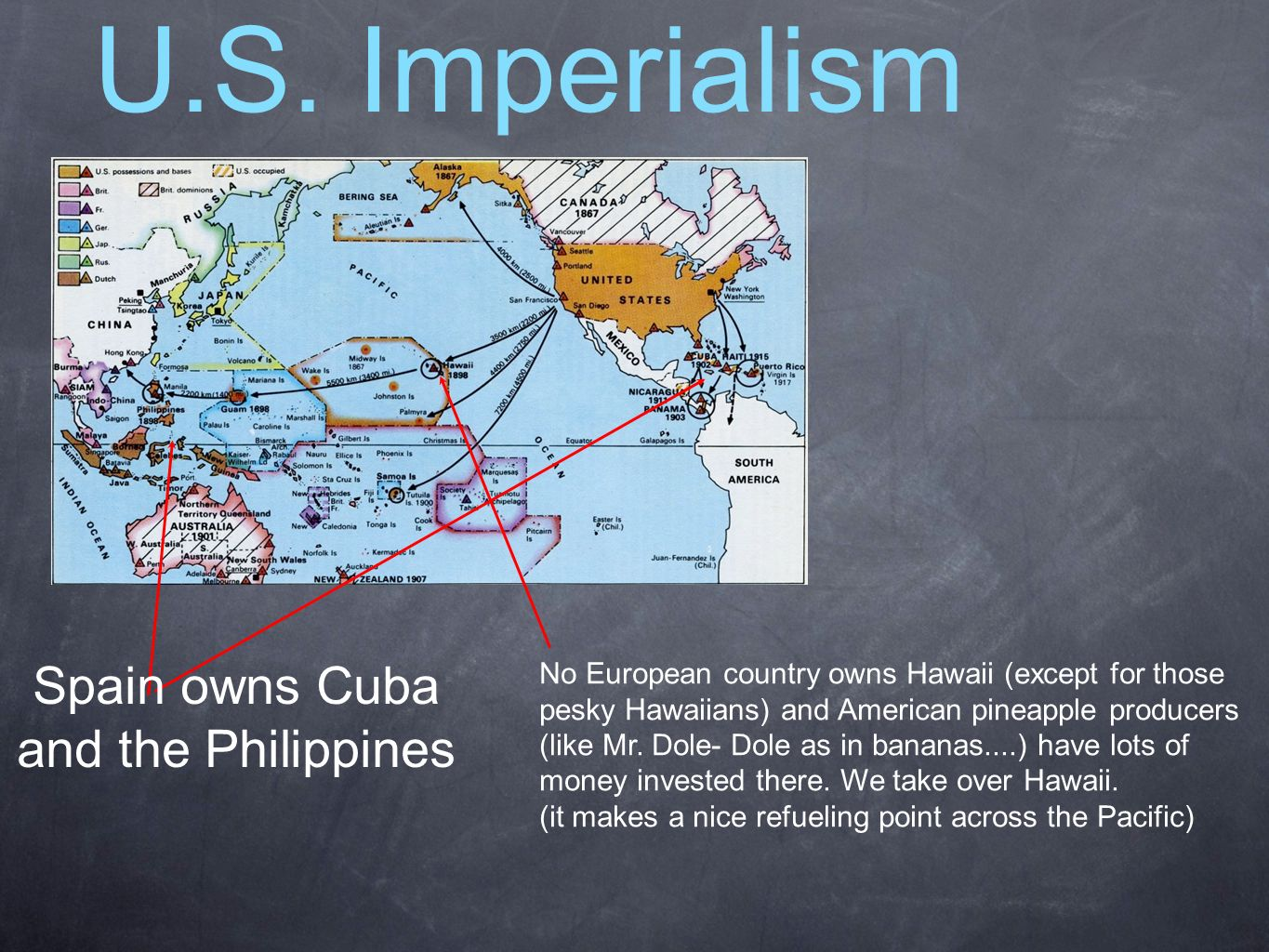 Spain owns Cuba and the Philippines