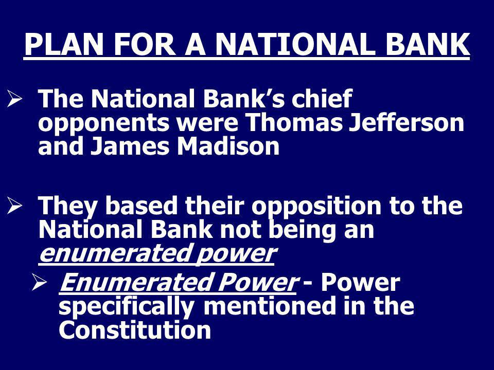 PLAN FOR A NATIONAL BANK