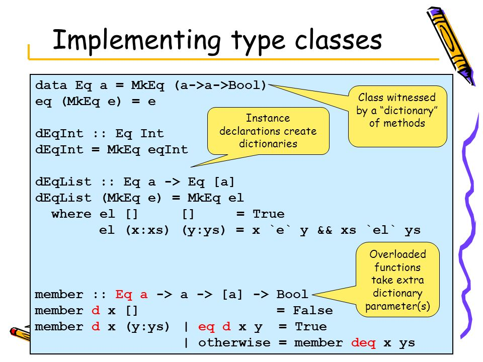 Implementing type classes