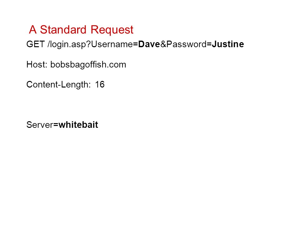 A Standard Request GET /login.asp Username=Dave&Password=Justine