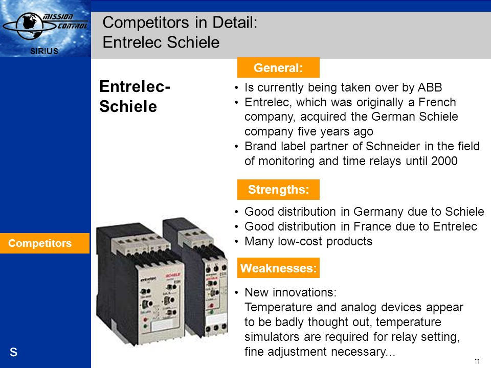 Competitors in Detail: Entrelec Schiele