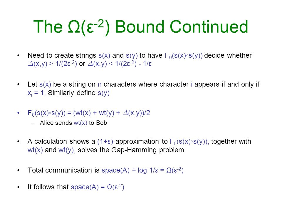 The Ω(ε-2) Bound Continued