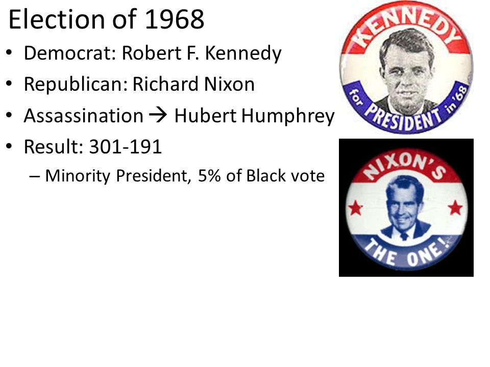 Election of 1968 Democrat: Robert F. Kennedy Republican: Richard Nixon