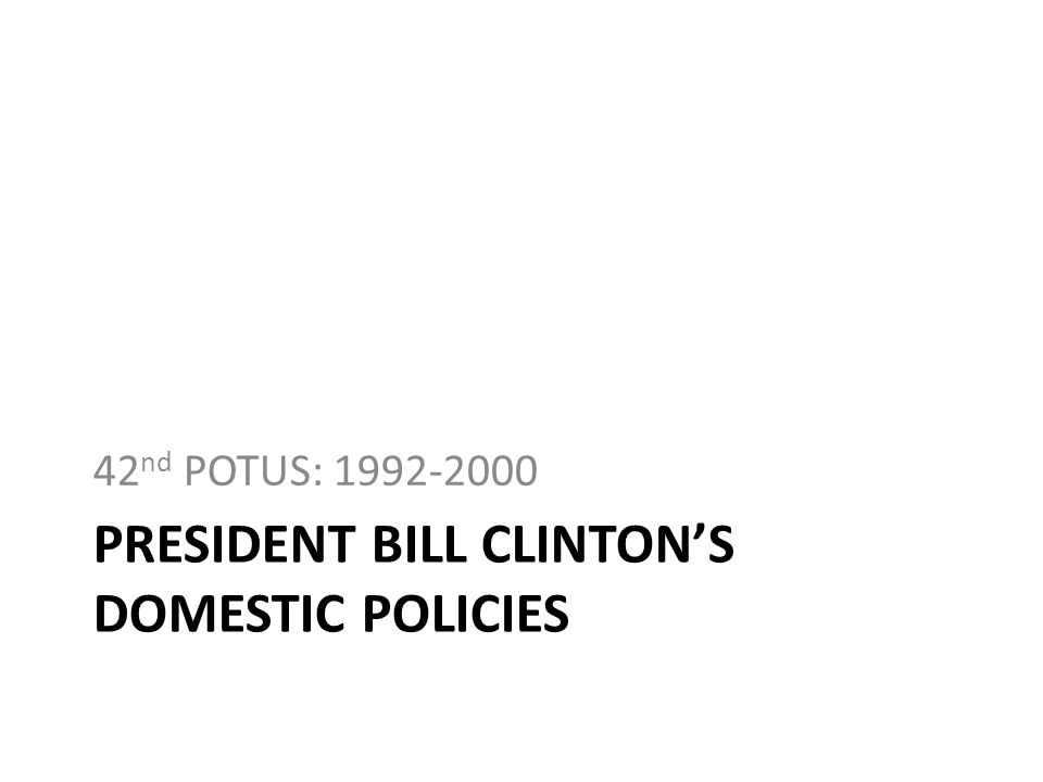 President bill clinton's domestic policies