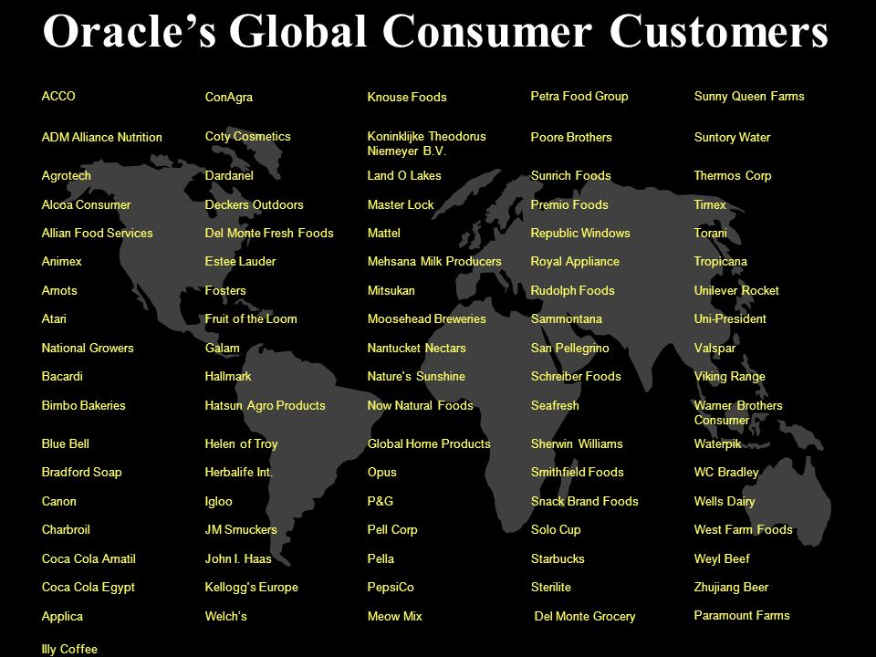 Oracle's Global Consumer Customers