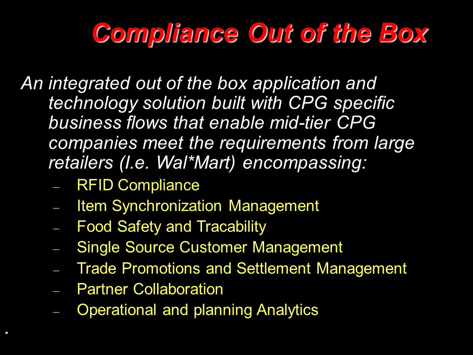 Compliance Out of the Box