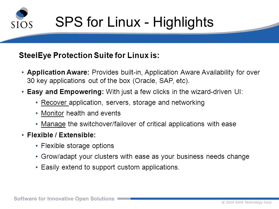SPS for Linux - Highlights