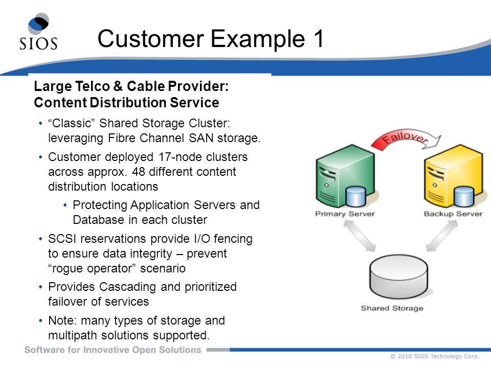 Customer Example 1 Large Telco & Cable Provider: Content Distribution Service.