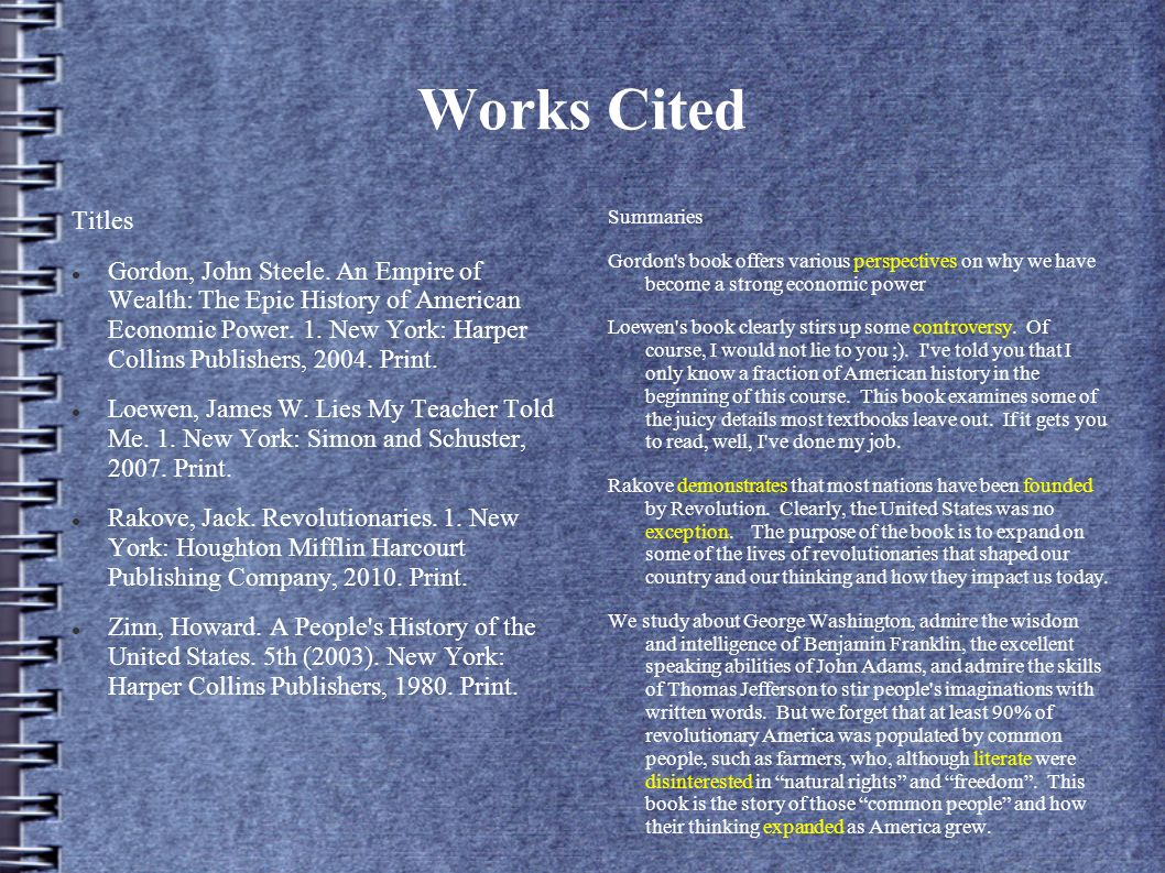 Works Cited Titles.