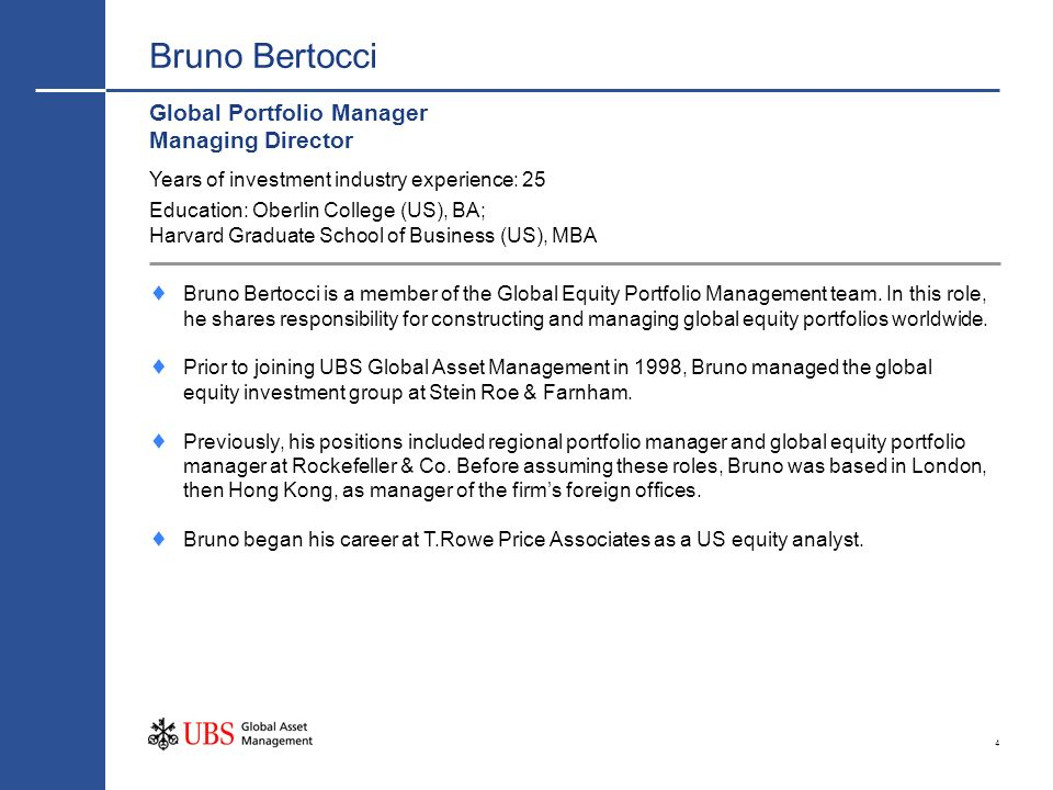 Bruno Bertocci Global Portfolio Manager Managing Director