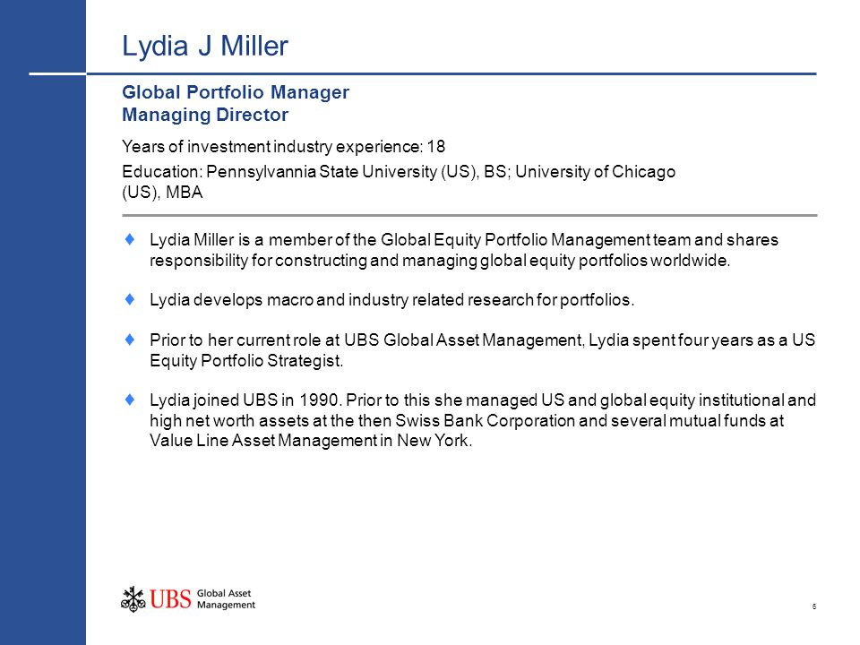 Lydia J Miller Global Portfolio Manager Managing Director