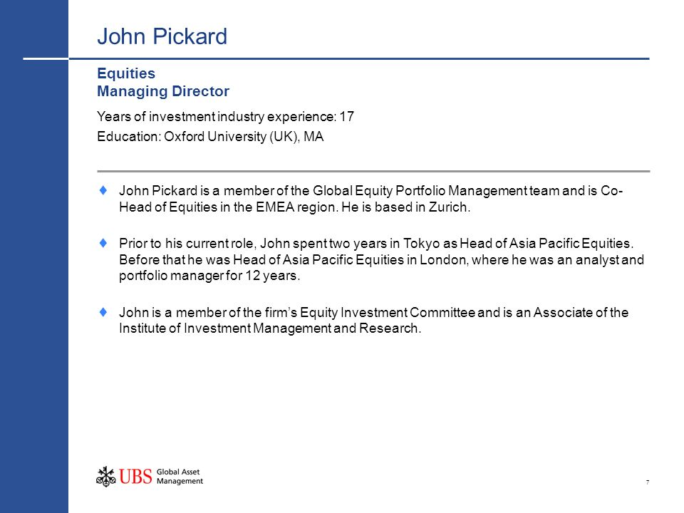 John Pickard Equities Managing Director