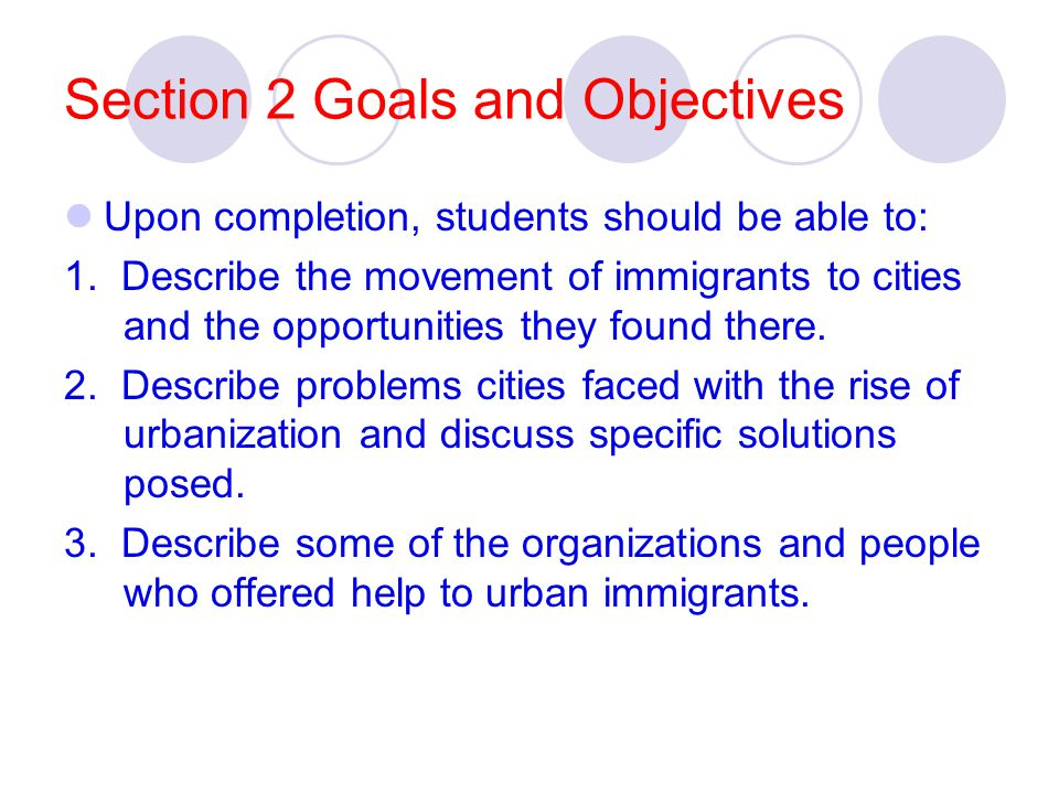 Section 2 Goals and Objectives