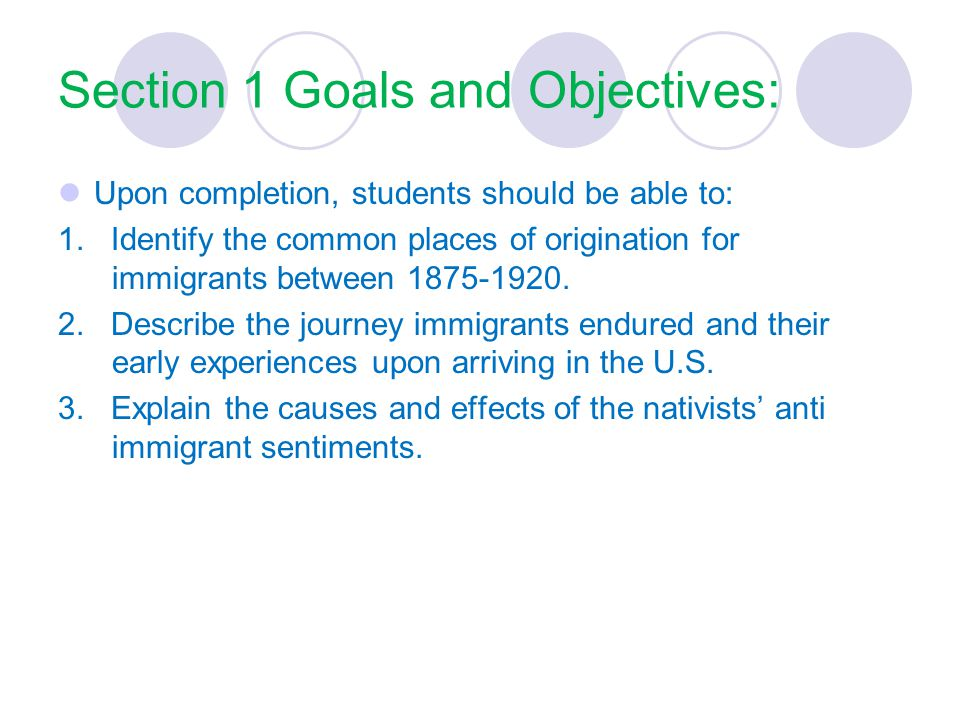Section 1 Goals and Objectives:
