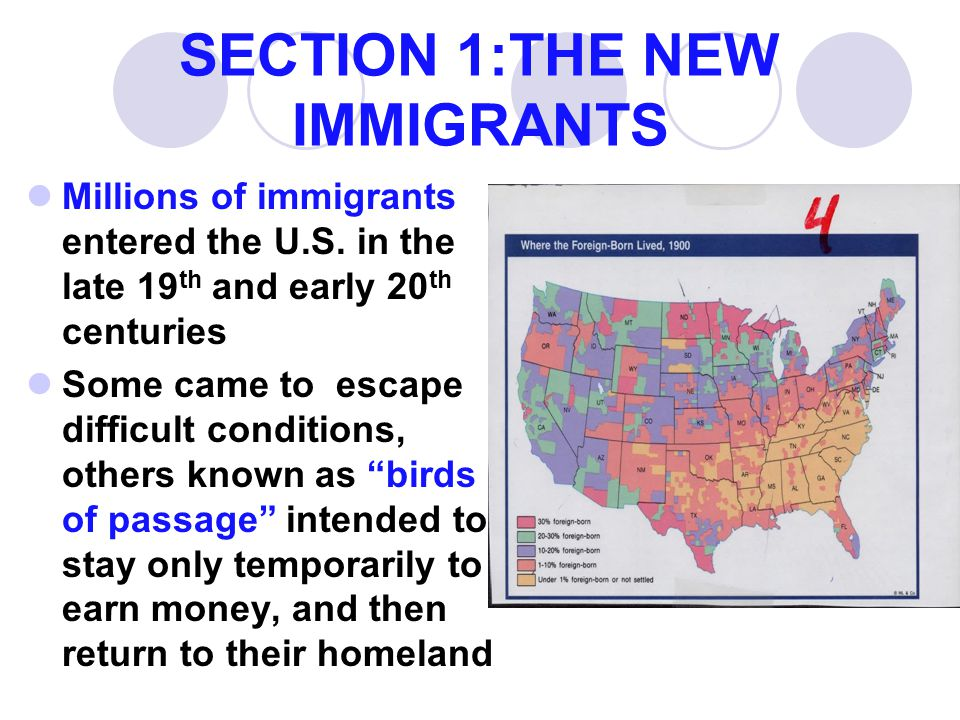 SECTION 1:THE NEW IMMIGRANTS