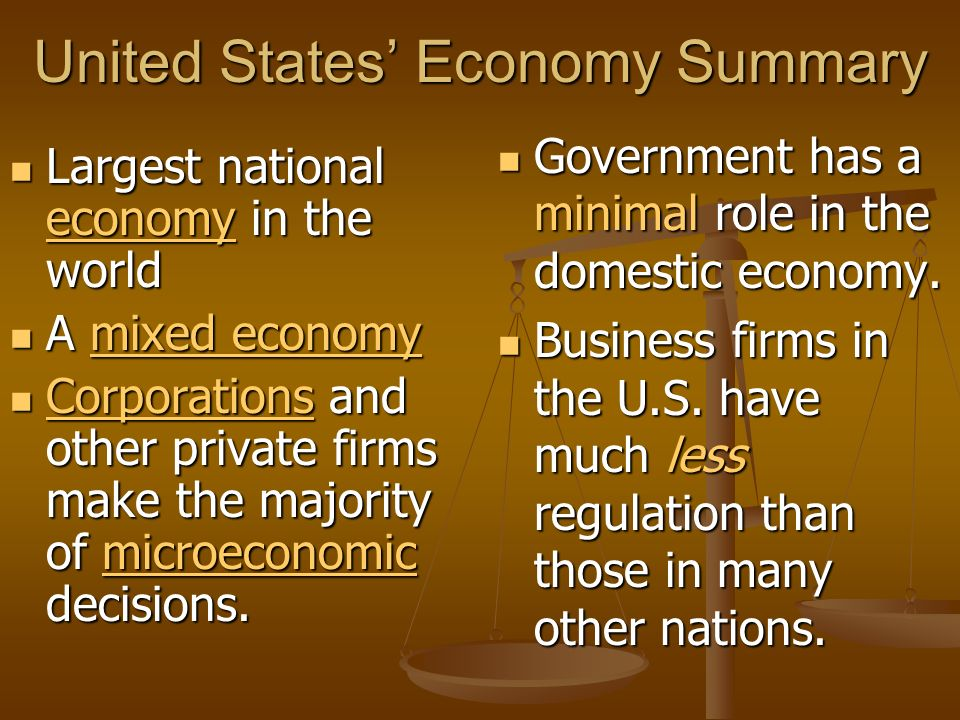 United States' Economy Summary