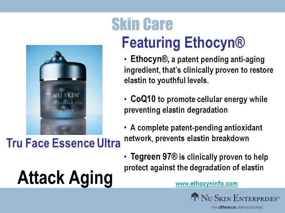 Attack Aging Skin Care Featuring Ethocyn® Tru Face Essence Ultra