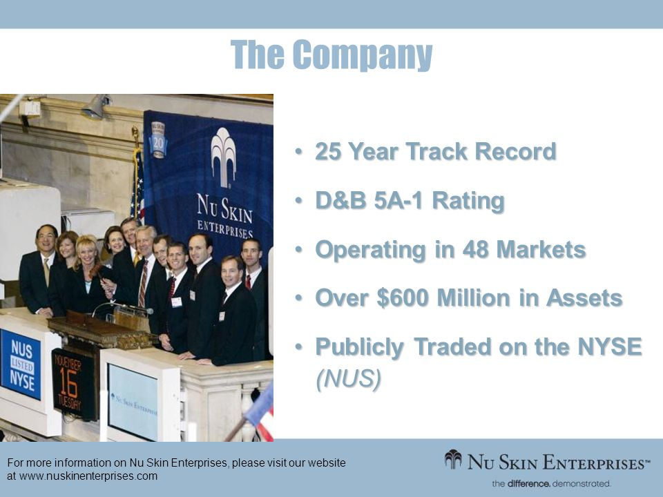 The Company 25 Year Track Record D&B 5A-1 Rating