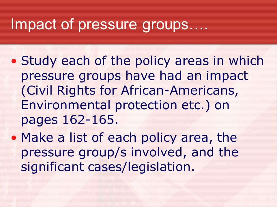 Impact of pressure groups….