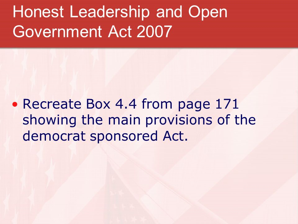 Honest Leadership and Open Government Act 2007