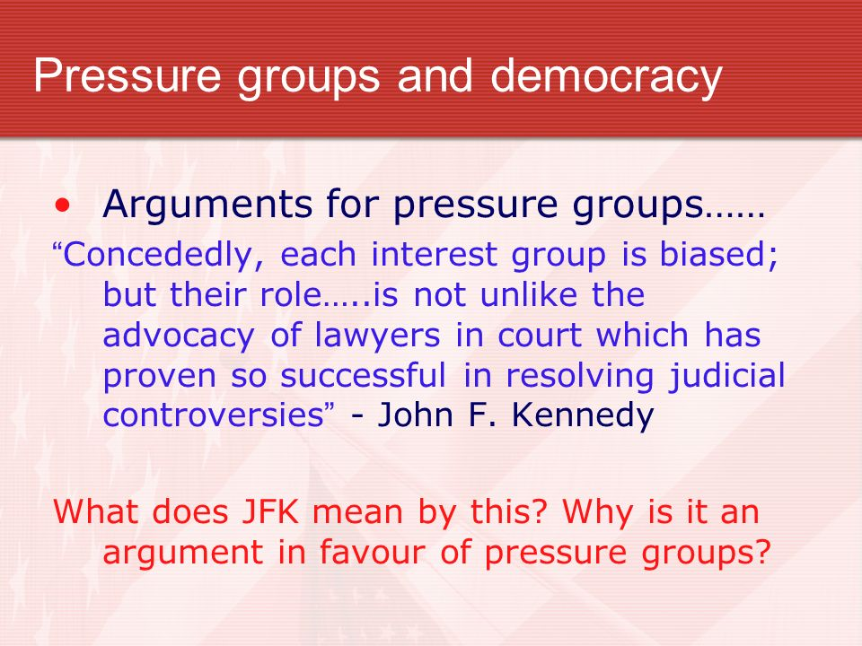 Pressure groups and democracy