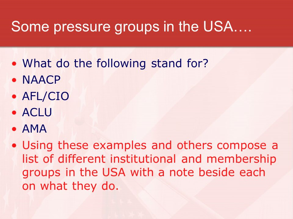 Some pressure groups in the USA….