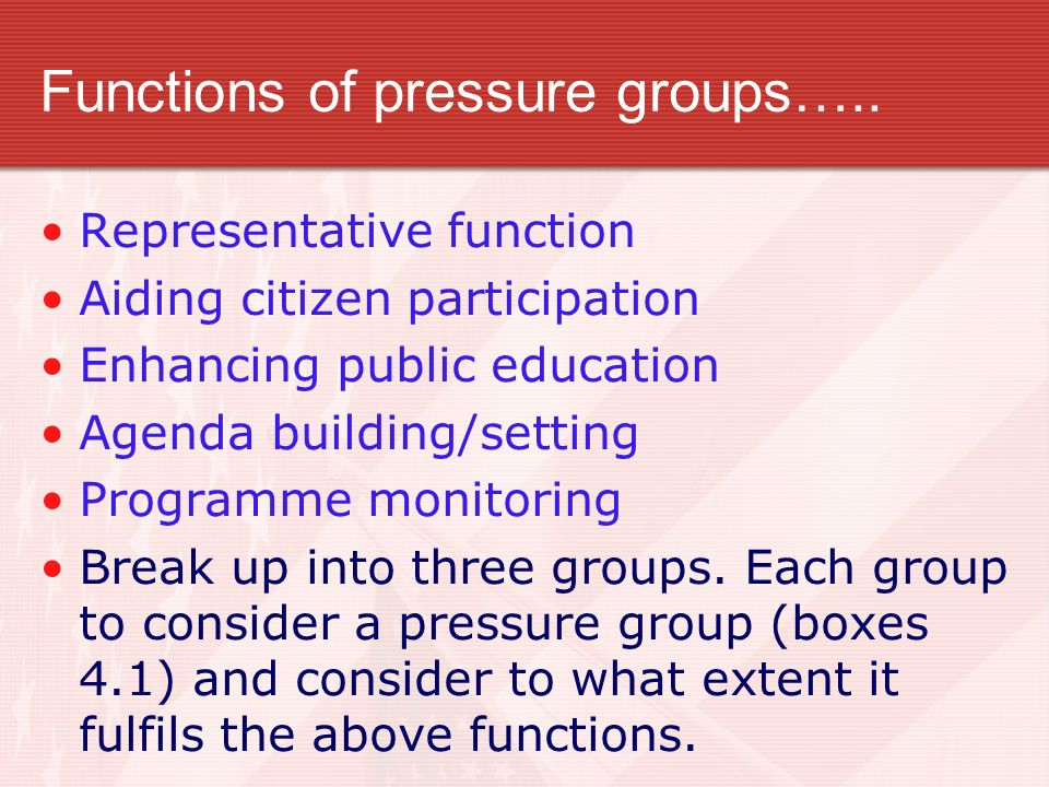Functions of pressure groups…..