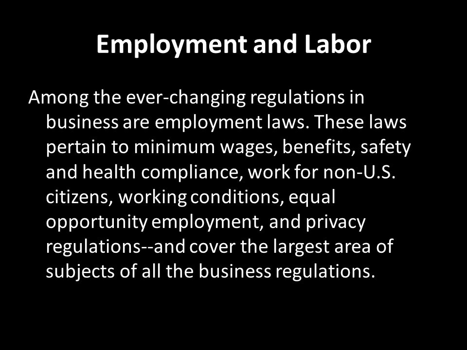 Employment and Labor
