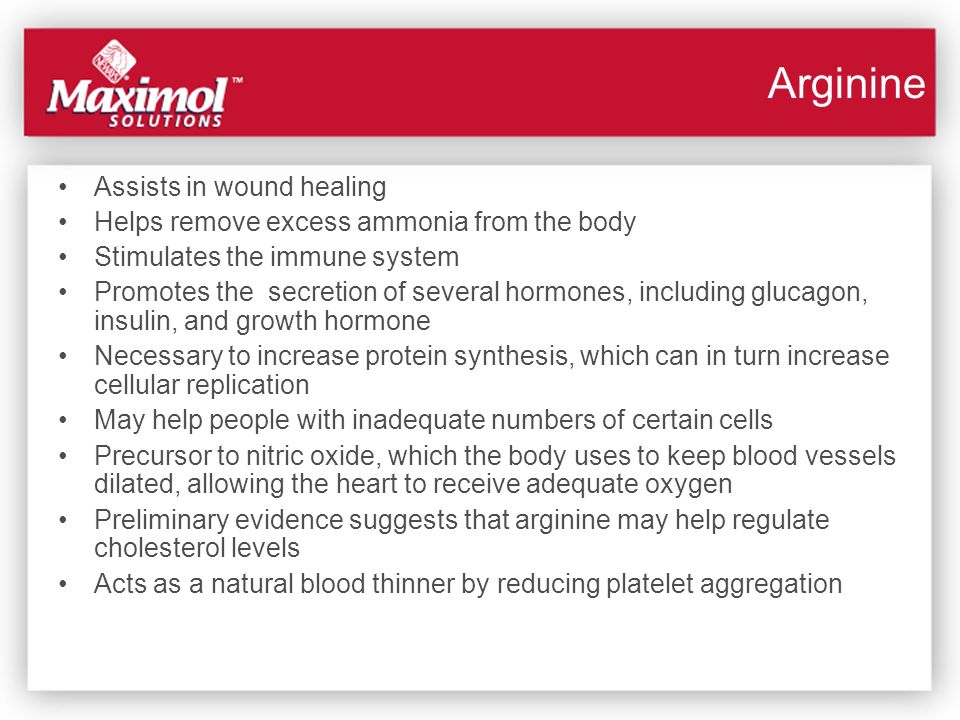 Arginine Assists in wound healing