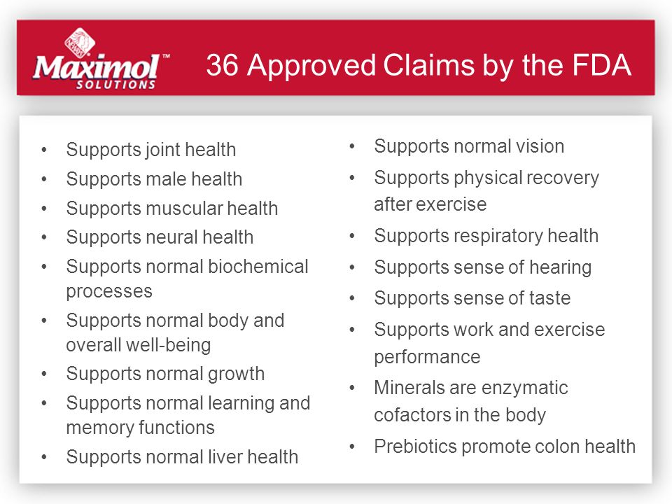 36 Approved Claims by the FDA