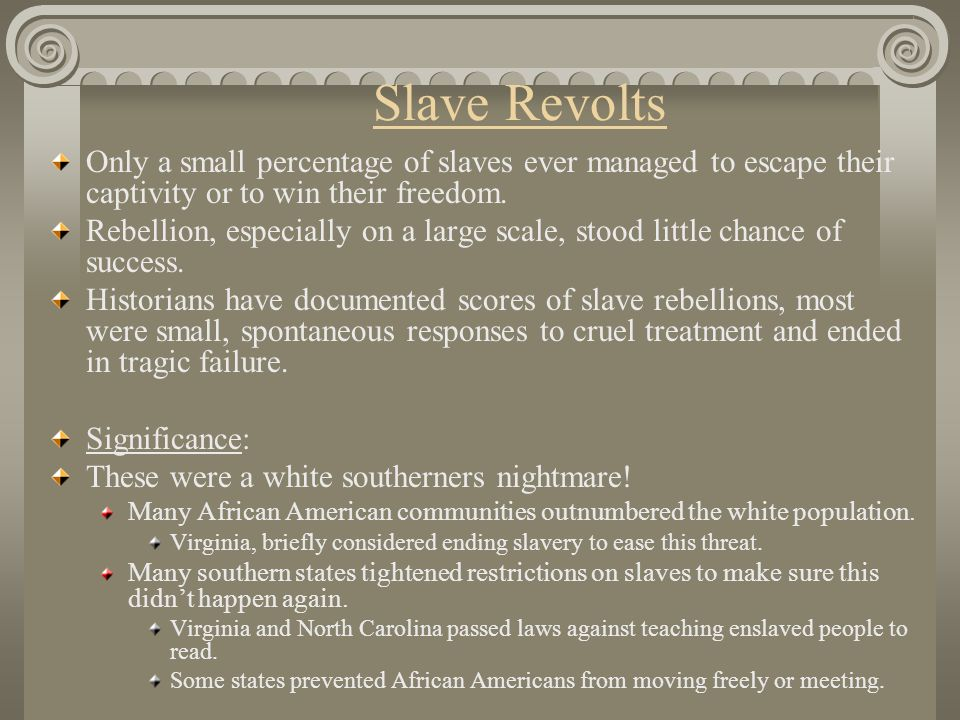Slave Revolts Only a small percentage of slaves ever managed to escape their captivity or to win their freedom.