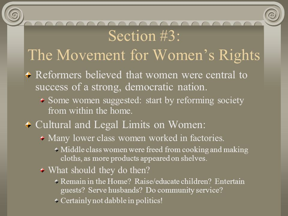 Section #3: The Movement for Women's Rights