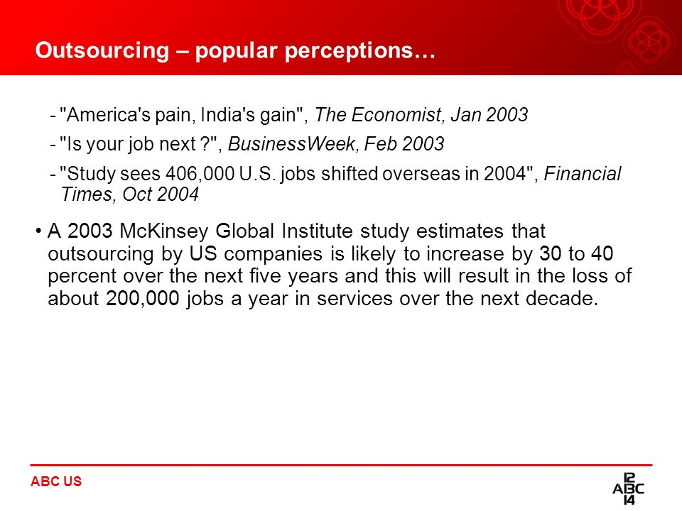 Outsourcing – popular perceptions…