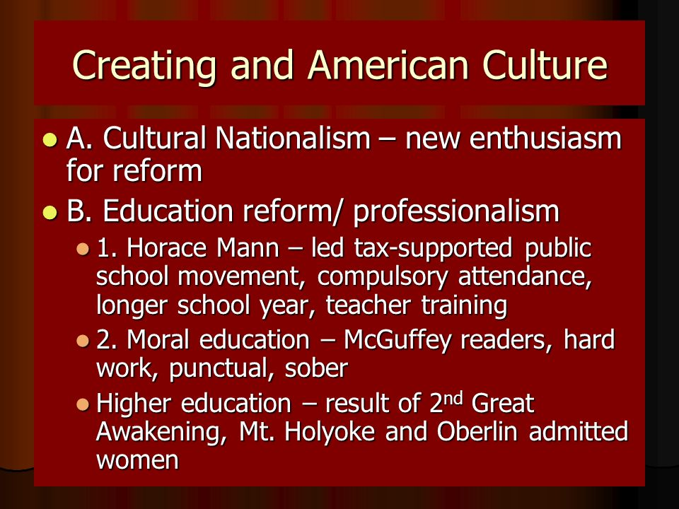 Creating and American Culture