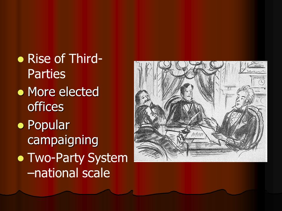 Rise of Third-Parties More elected offices Popular campaigning Two-Party System –national scale