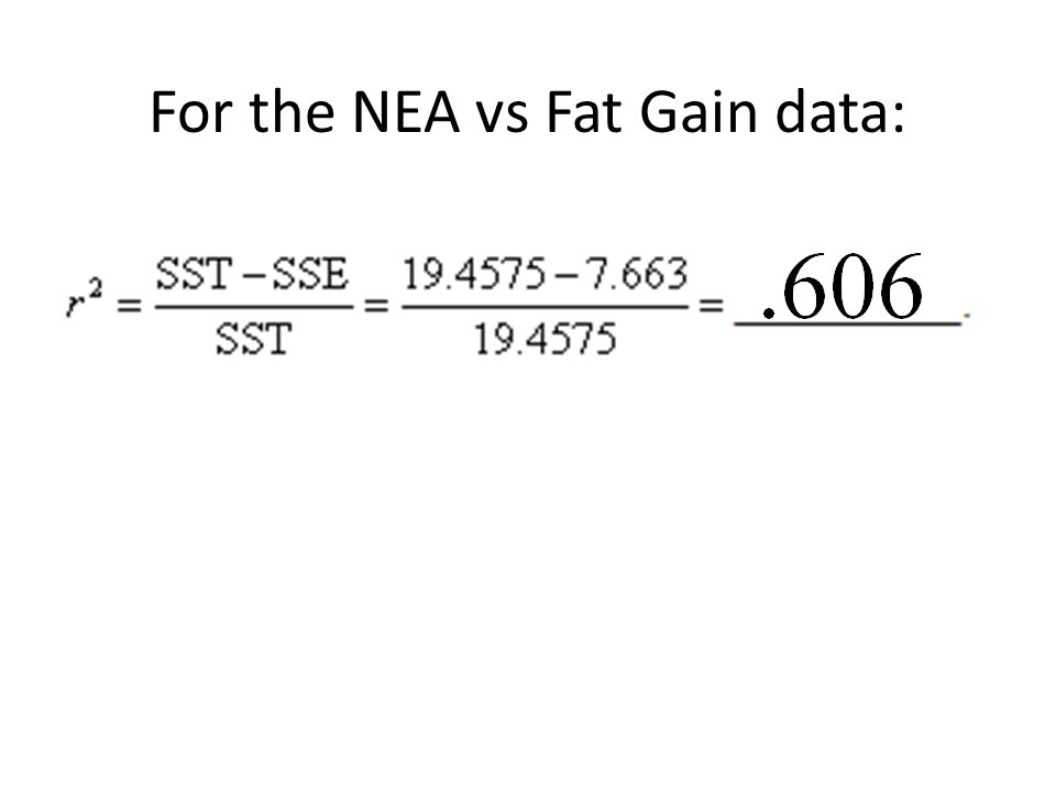 For the NEA vs Fat Gain data: