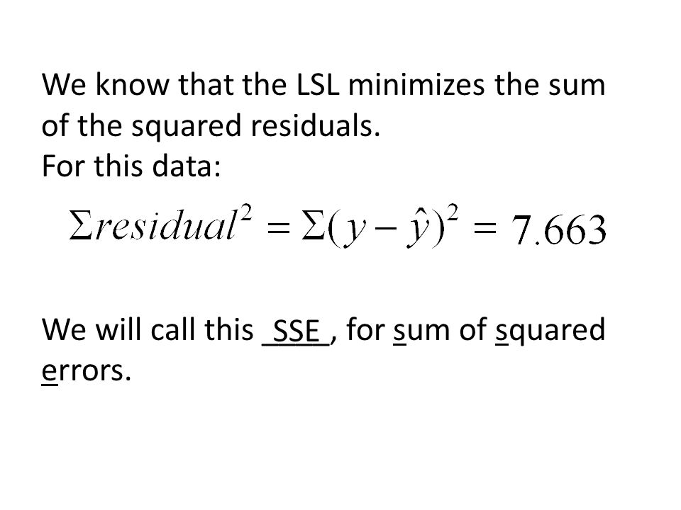 We know that the LSL minimizes the sum of the squared residuals