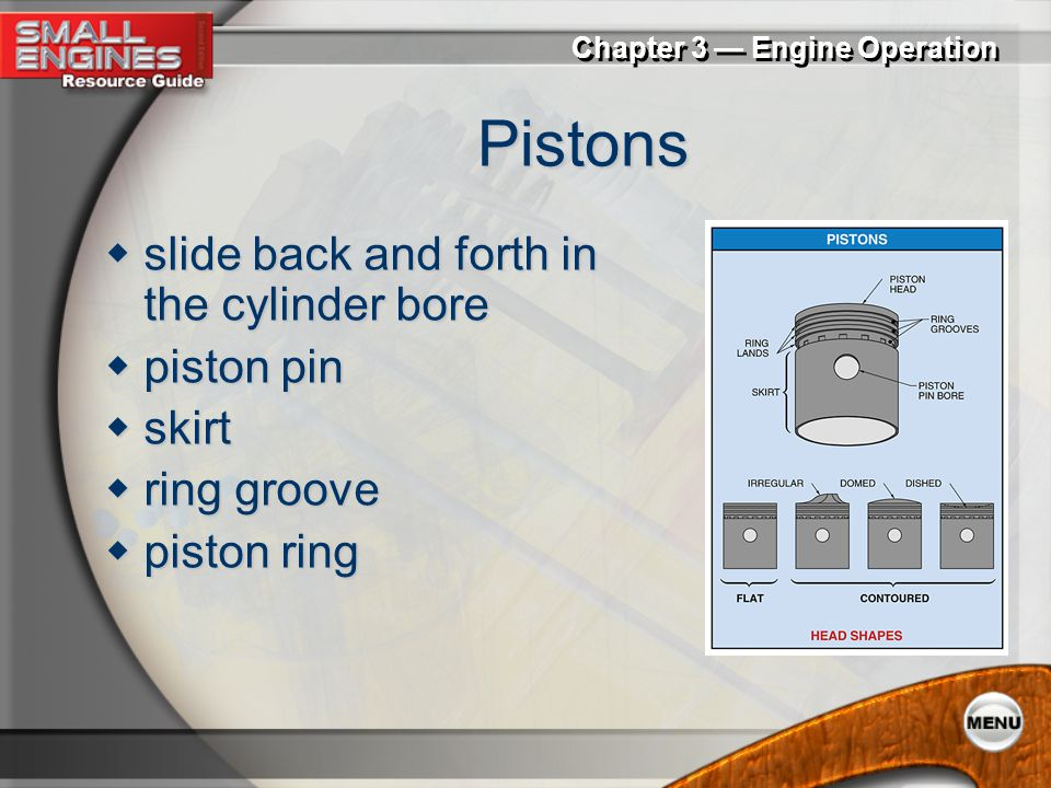 Pistons slide back and forth in the cylinder bore piston pin skirt