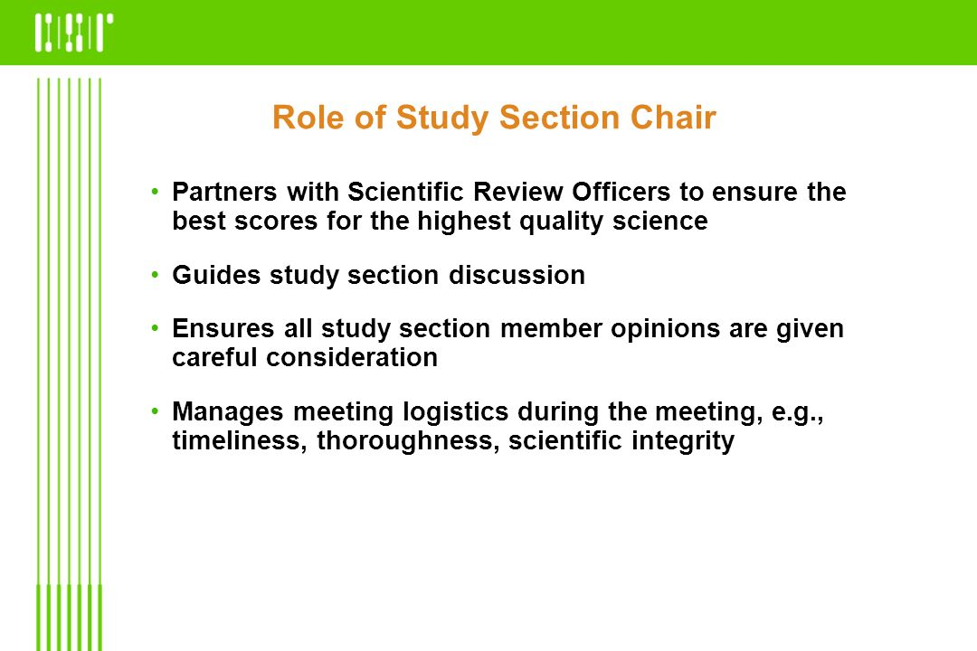 Role of Study Section Chair
