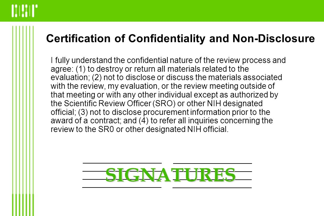Certification of Confidentiality and Non-Disclosure
