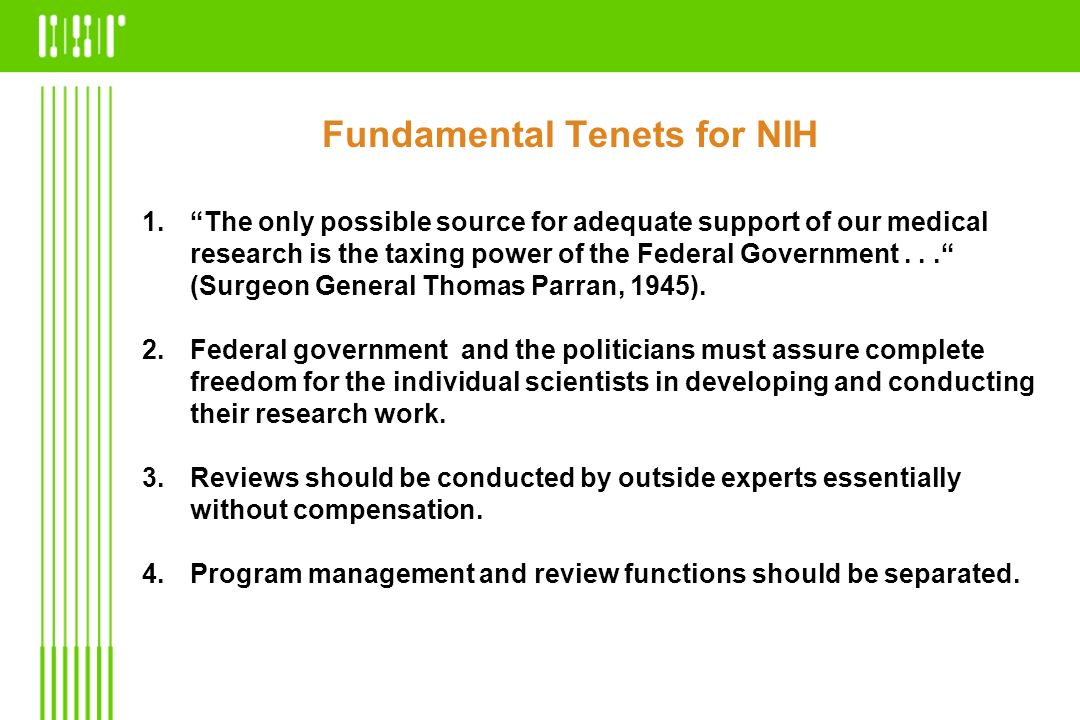 Fundamental Tenets for NIH