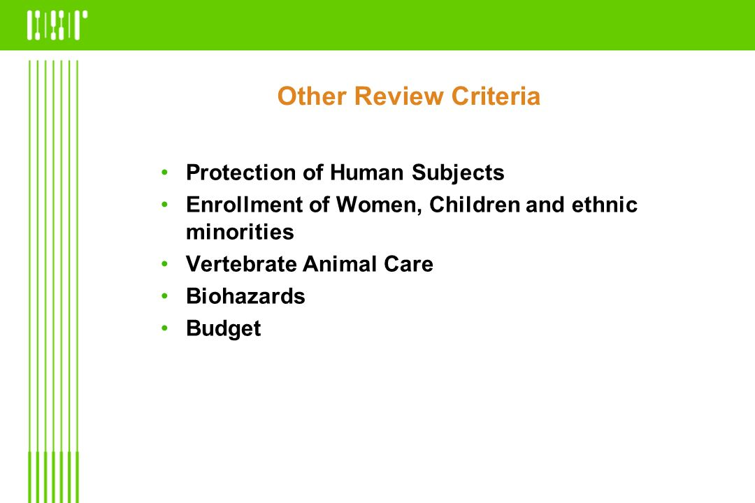 Other Review Criteria Protection of Human Subjects