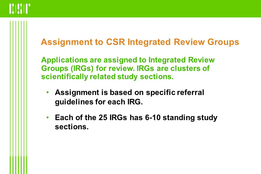 Assignment to CSR Integrated Review Groups